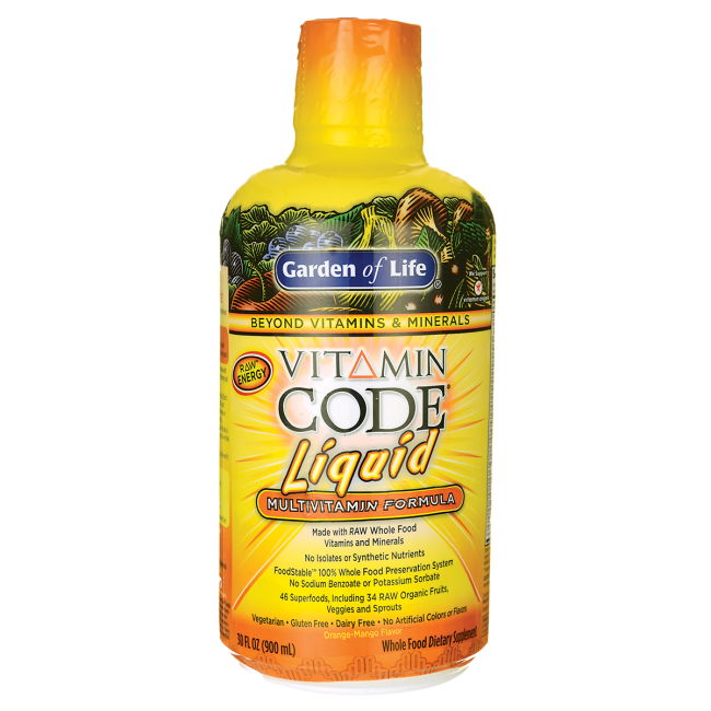 Garden of Life Vitamin Code Liquid Multivitamin Formula - Orange-Mango