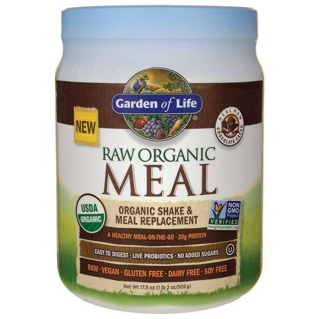 garden of life raw organic meal shake meal replacement chocolate cacao 17 9 oz 509 grams