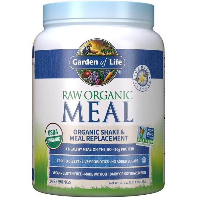 Garden Of Life Raw Meal Organic Shake Meal Replacement Vanilla 16 7 Oz 475 Grams Pwdr