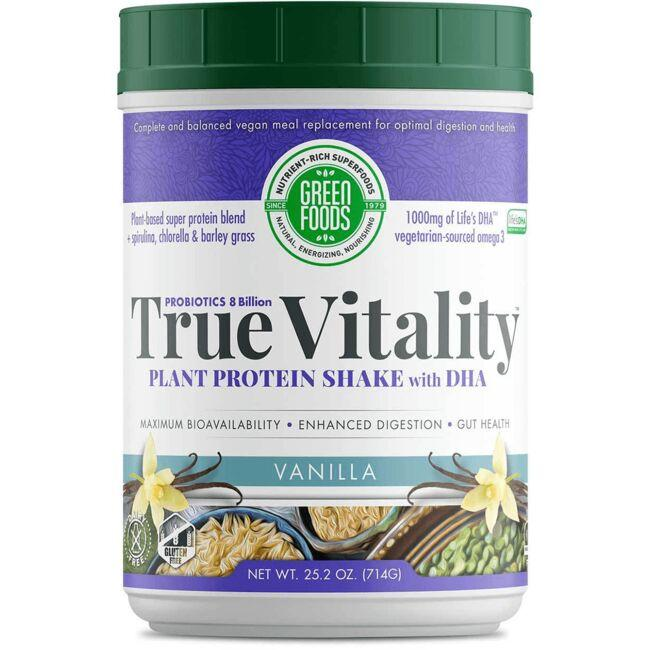 Green Foods True Vitality Plant Protein Shake with DHA - Vanilla
