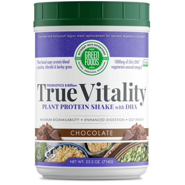Green Foods True Vitality Plant Protein Shake with DHA Chocolate