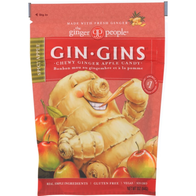 Ginger People Gin-Gins Chewy Ginger Candy Spicy Apple