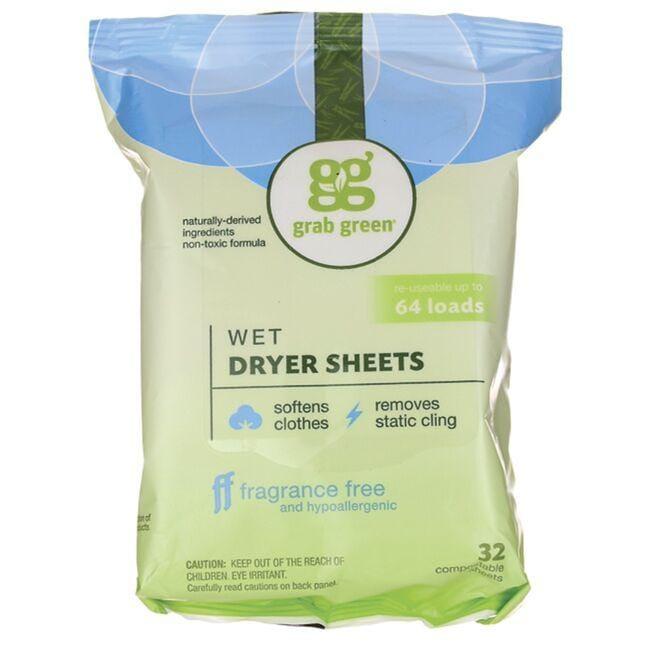 GrabGreenWet Dryer Sheets - Fragrance Free