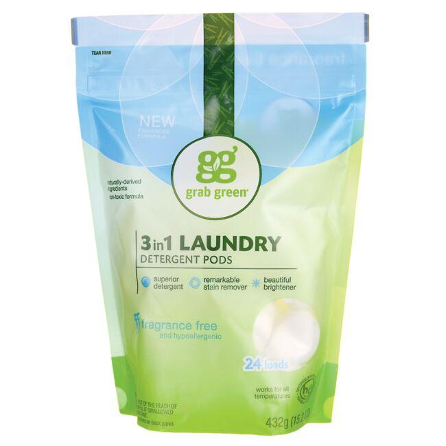 GrabGreen 3-in-1 Laundry Detergent Pods - Fragrance Free