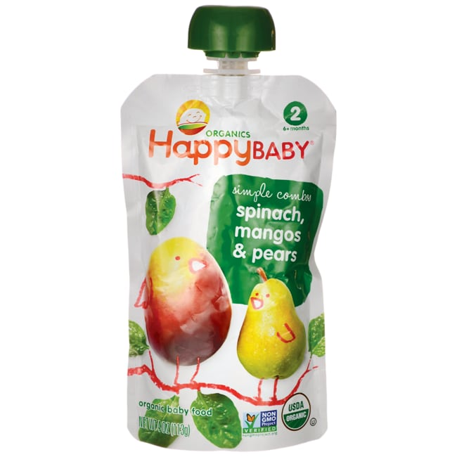 HappyBabyOrganic Baby Food - Spinach, Mangos & Pears