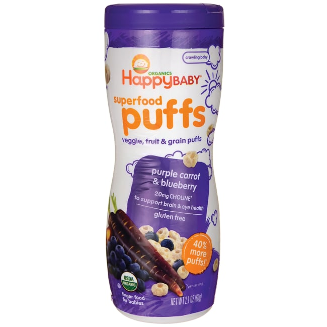 HappyBabyOrganic Superfood Puffs - Purple Carrot & Blueberry