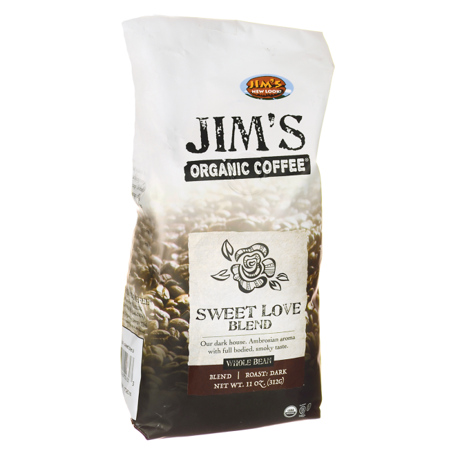 Jim's Organic CoffeeWhole Bean Coffee - Sweet Love Blend