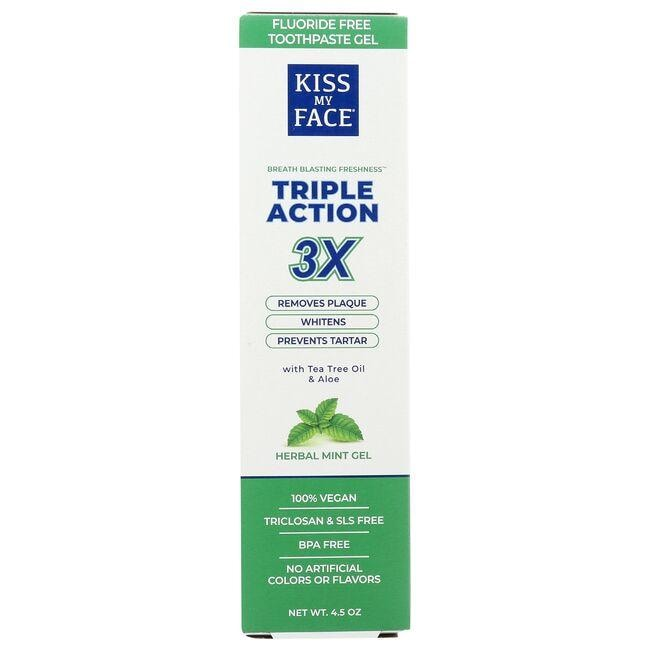 Kiss My Face Triple Action Toothpaste - Cool Mint Gel