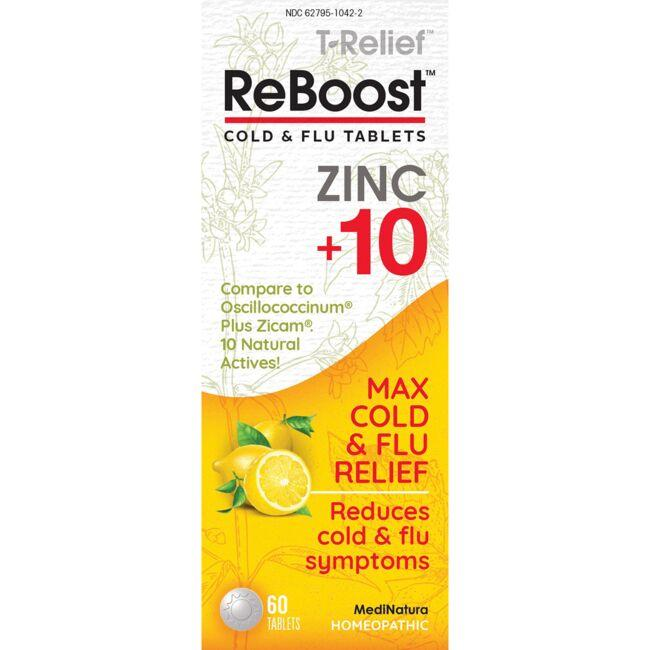 MediNatura T-Relief ReBoost Zinc +10 Cold & Flu Tablets - Lemon