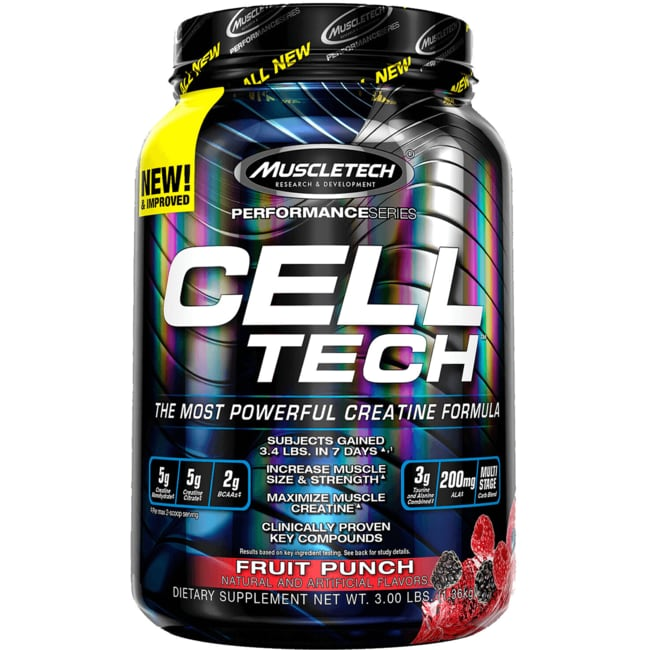 Muscletech celltech hardgainer creatine formula fruit punch 6 lbs pwdr swanson health products - Cell tech hardgainer creatine formula ...