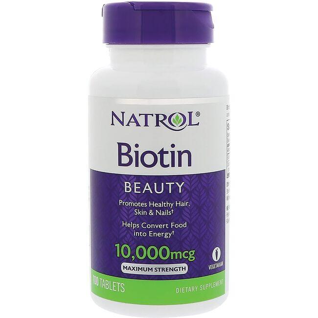 Natrol Biotin Maximum Strength 10,000 mcg 100 Tabs ...