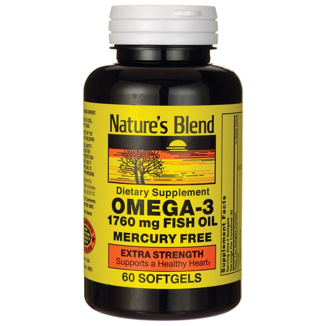 Nature 39 s blend omega 3 fish oil extra strength 1 760 mg 60 for Omega 3 fish oil weight loss
