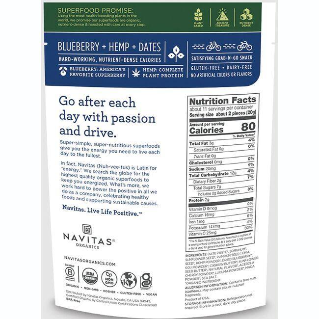 Navitas OrganicsOrganic Power Snacks - Blueberry Hemp Close Up
