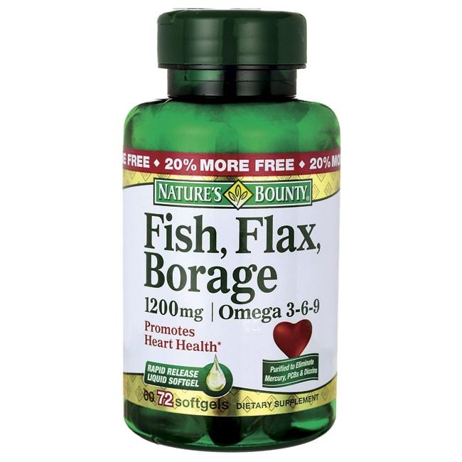 Nature 39 s bounty fish flax borage omega 3 6 9 1 200 mg 72 for Fish flax borage oil