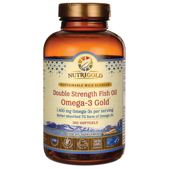 Nutrigold double strength fish oil omega 3 gold 1 400 mg for Fish oil 1400 mg