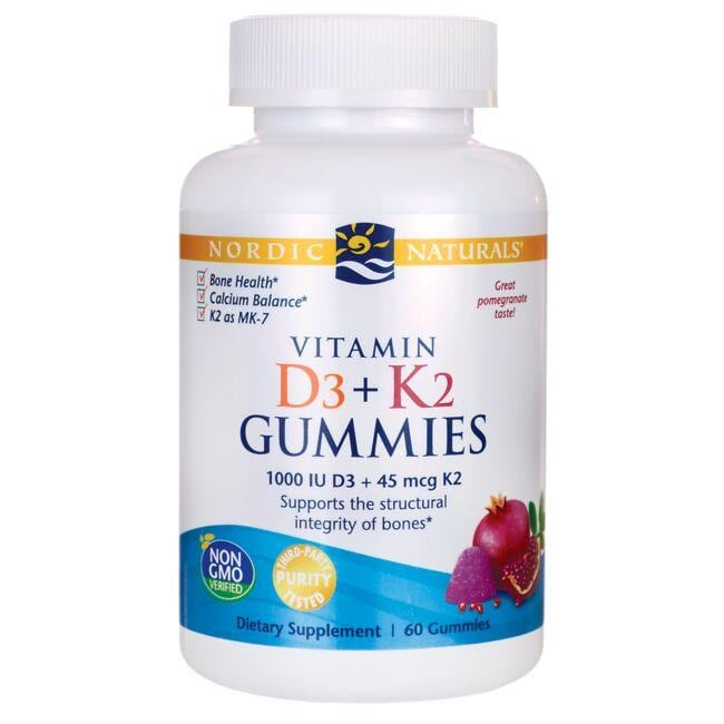 Nordic Naturals Vitamin D3 + K2 Gummies - Pomegranate