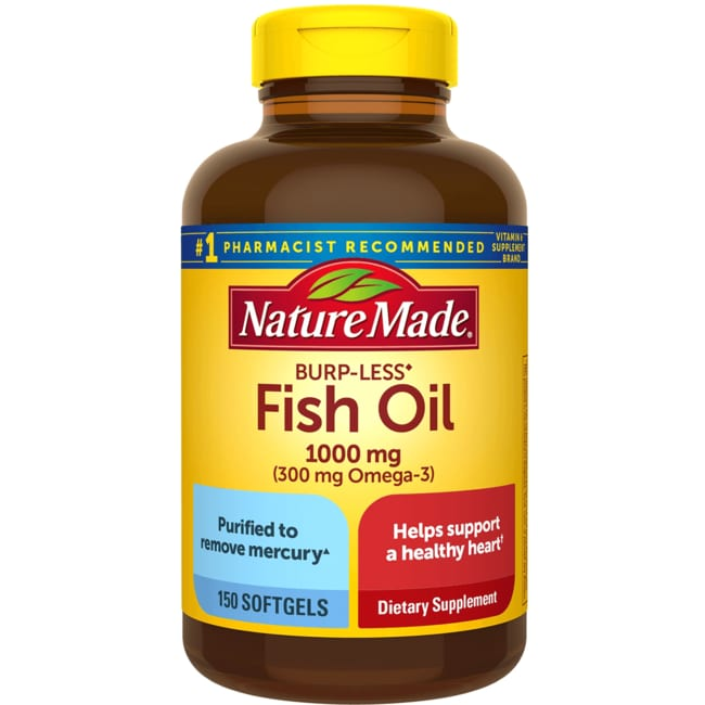 Nature made fish oil burp less 1 000 mg 150 sgels for Fish oil 1000 mg