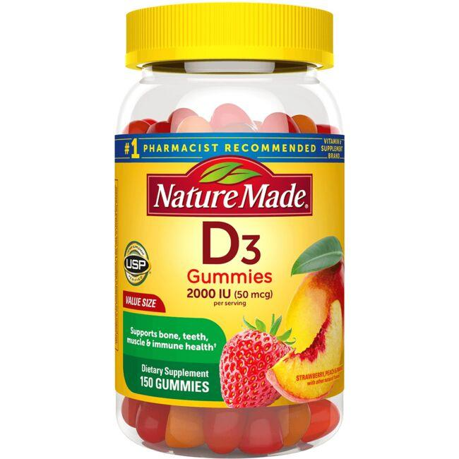 Nature Made Adult Gummies Vitamin D3 - Strawberry, Peach & Mango