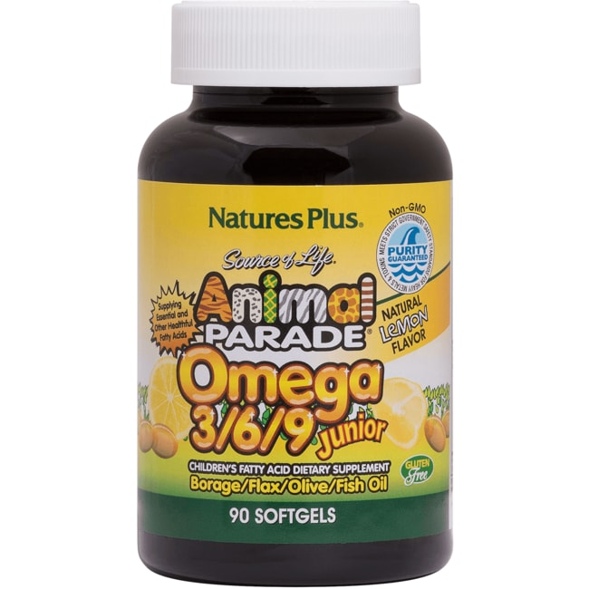Nature's Plus Life Animal Parade Omega 3/6/9 Jr Lemon