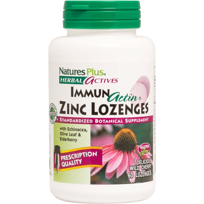 Nature's Plus Immun Actin Zinc Lozenges Wild Cherry