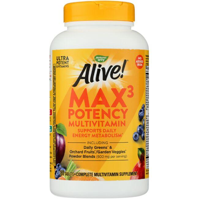 Nature's Way Alive! Max3 Daily Multi-Vitamin - No Added Iron 180 Tabs