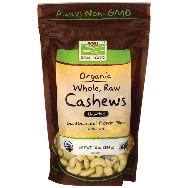 NOW Foods Certified Organic Whole, Raw Cashews - Unsalted
