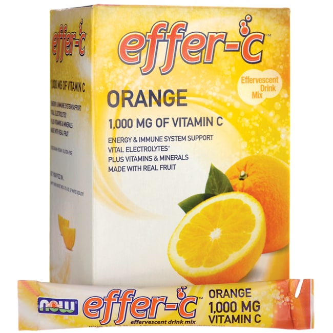 NOW Foods Effer-C Effervescent Drink Mix Orange