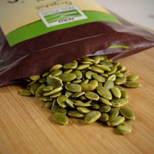 NOW Foods Organic Raw Pumpkin Seeds - Unsalted Close Up