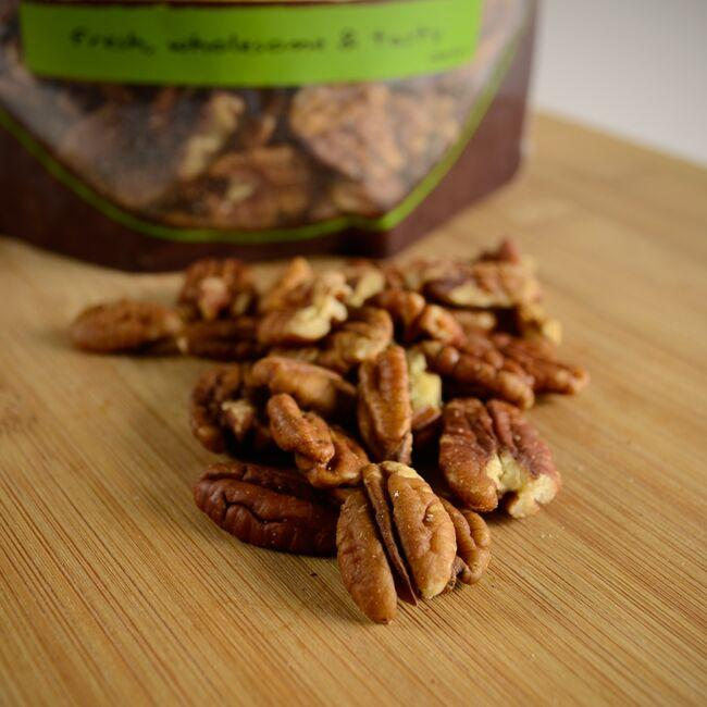 NOW FoodsRaw Pecans Halves & Pieces - Unsalted Close Up