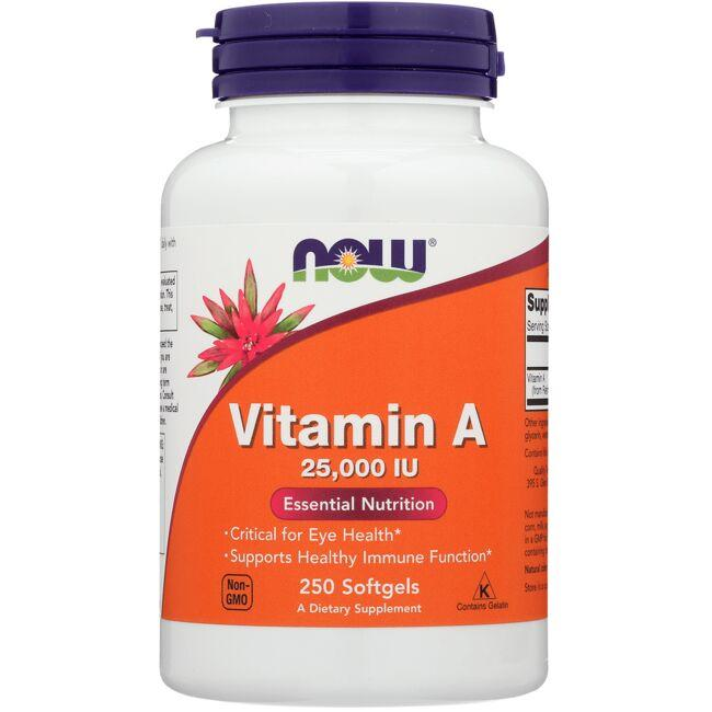 Maintains eye health Supports immune function 25,000 IU from fish liver oil NOW Foods Vitamin A 250 Soft Gels Sold by Swanson Vitamins