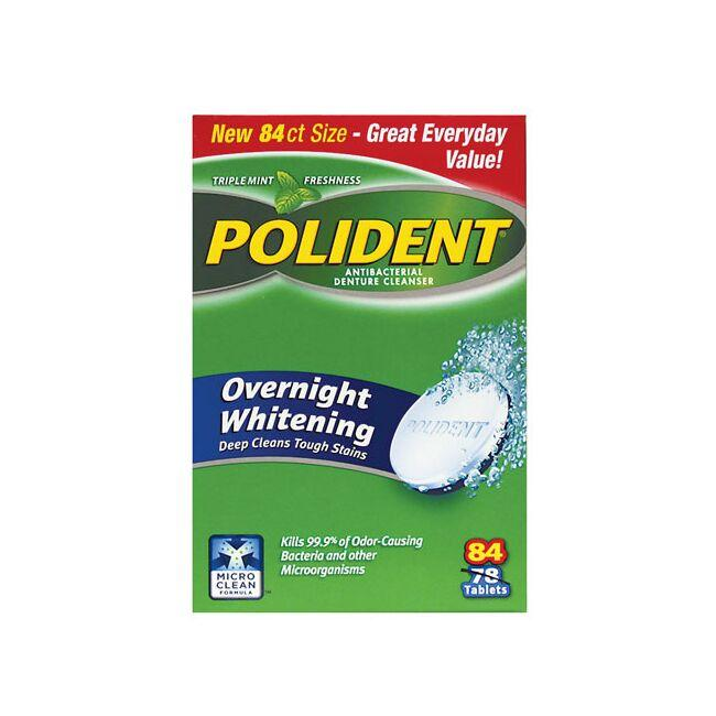 polident denture cleanser overnight whitening 84 tabs swanson