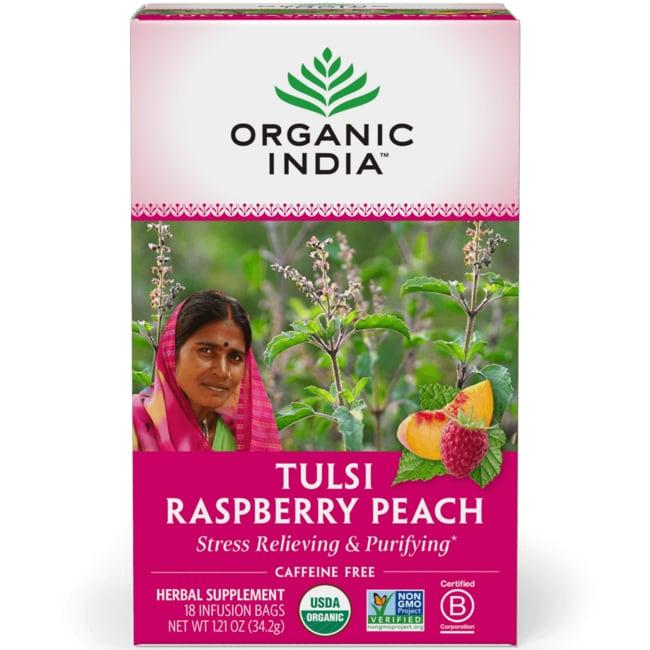 Organic India Raspberry Peach Tulsi Tea