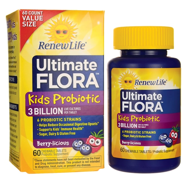 Renew Life Ultimate Flora Kids Probiotic 3 Billion CFU 60 Chwbls
