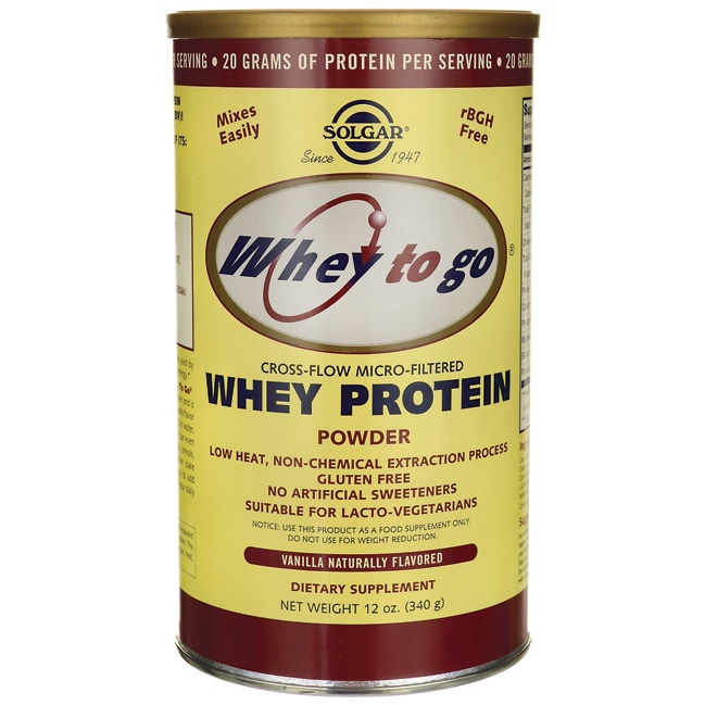 Solgar Whey To Go Whey Protein Powder Vanilla Naturally Flavored