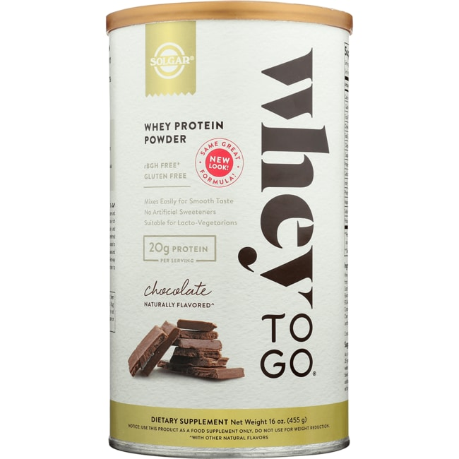 Solgar Whey To Go Whey Protein Powder Chocolate Naturally Flavored