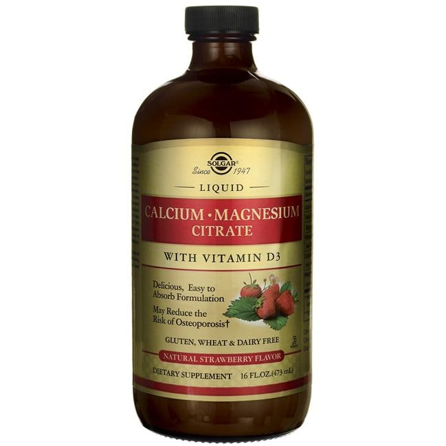 Solgar Liquid Calcium Magnesium Citrate with Vitamin D3 - Strawberry