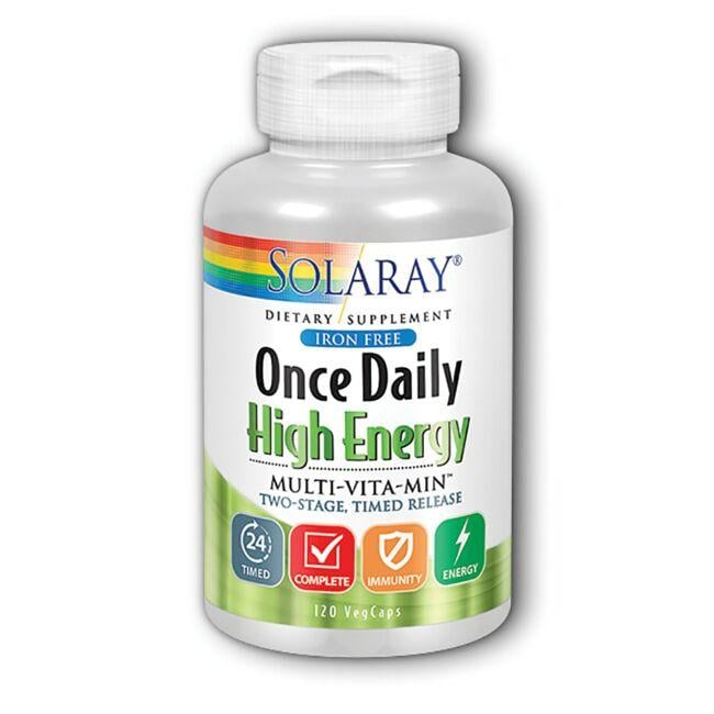 Solaray Iron Free Once Daily High Energy Multi-Vitamin Timed Release