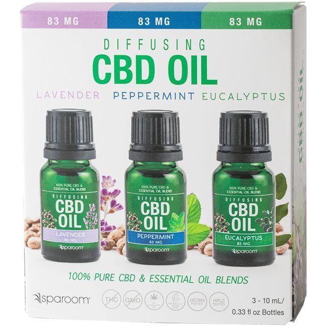 SpaRoom EssentialsCBD Oil 3-Pack - Lavender, Peppermint & Eucalyptus