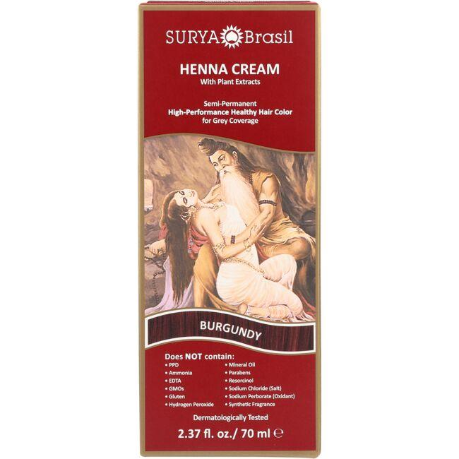 Surya BrasilHenna Cream With Plant Extracts Hair Color - Burgundy