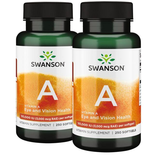 Economical nourishment for your eyes, skin and immune system function* Concentrated vitamin A from a fish-oil source Delivered in easy-to-swallow, high absorption softgels 500 softgels arrive in two bottles of 250 softgels each Swanson Premium Vitamin A 10,000 Iu 500 Soft Gels Sold by Swanson Vitamins