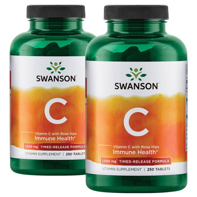 Swanson Premium Vitamin C with Rose Hips Timed-Release - 2 Pack