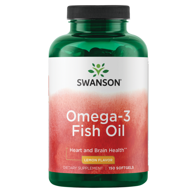 Omega 3 fish oil 1 000 mg lemon flavor swanson health for Best quality fish oil