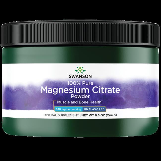 Swanson Magnesium Citrate Powder - 100% Pure 630 mg 8.6 oz P