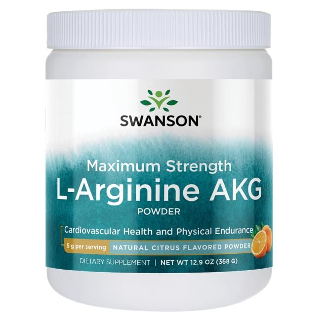 Swanson PremiumMaximum Strength L-Arginine AKG Powder - Natural Citrus Flavored