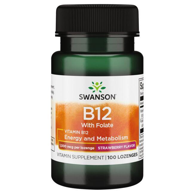 Swanson PremiumVitamin B12 with Folate - Strawberry Flavor