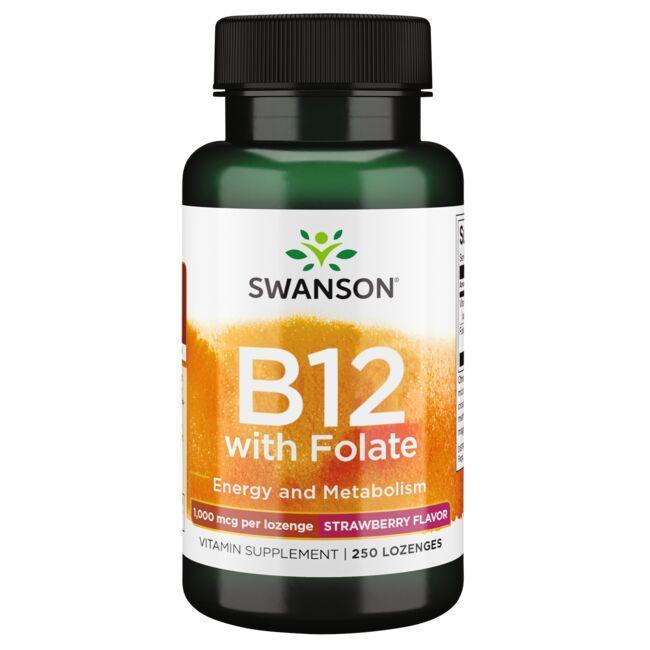 Swanson PremiumVitamin B-12 with Folate - Strawberry Flavor