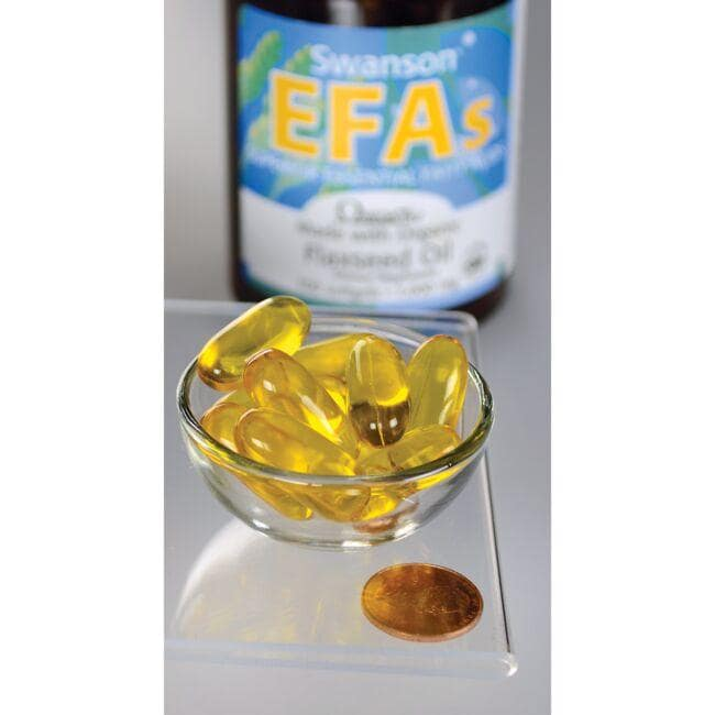 Swanson EFAs Flaxseed Oil (OmegaTru) Close Up