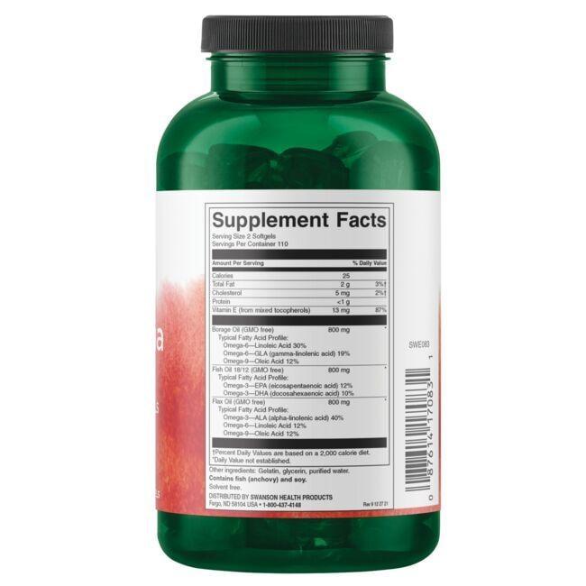 Swanson EFAsMultiOmega 3-6-9 Flax, Borage & Fish Oils Close Up