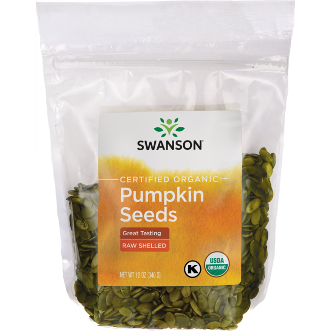Swanson Organic Certified Organic Pumpkin Seeds Raw, Shelled