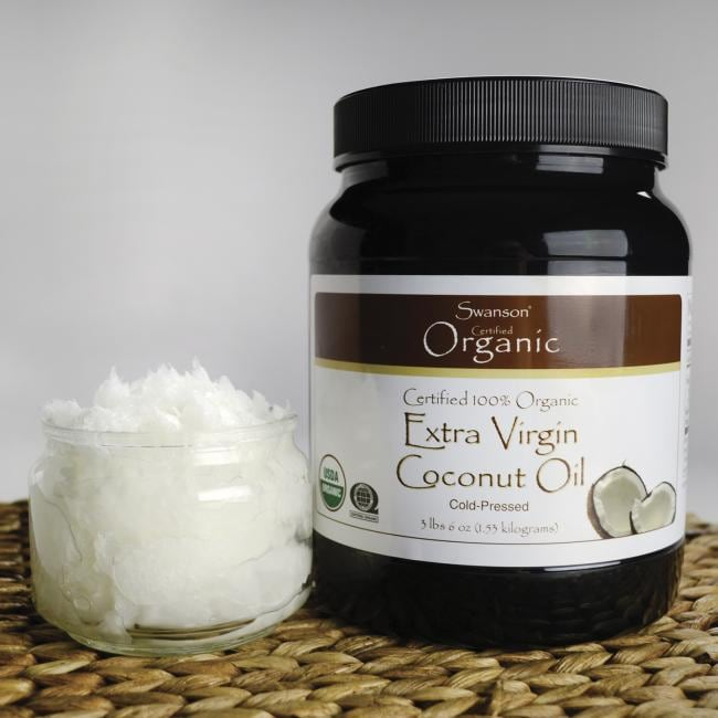 Swanson Organic Certified 100% Organic Extra Virgin Coconut Oil Close Up